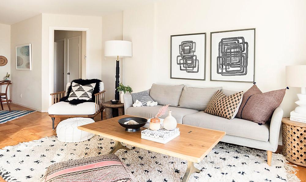 Bohemian living room beni ourain rug abstract art