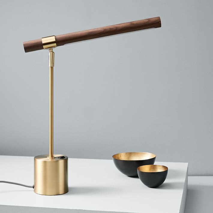 West Elm linear wood table lamp
