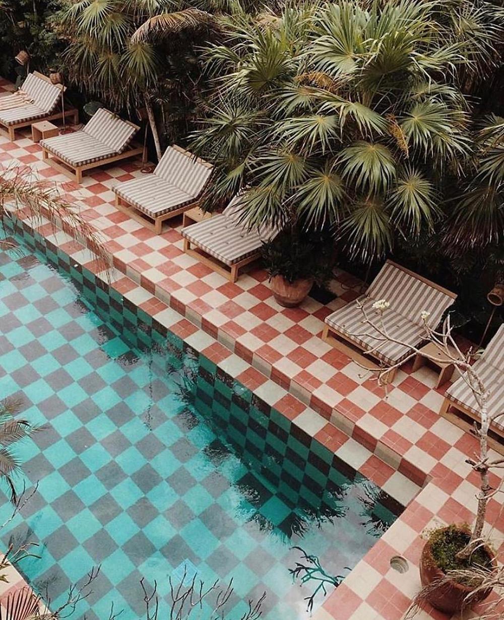 Casa Pueblo Tulum, Checkerboard tile pool