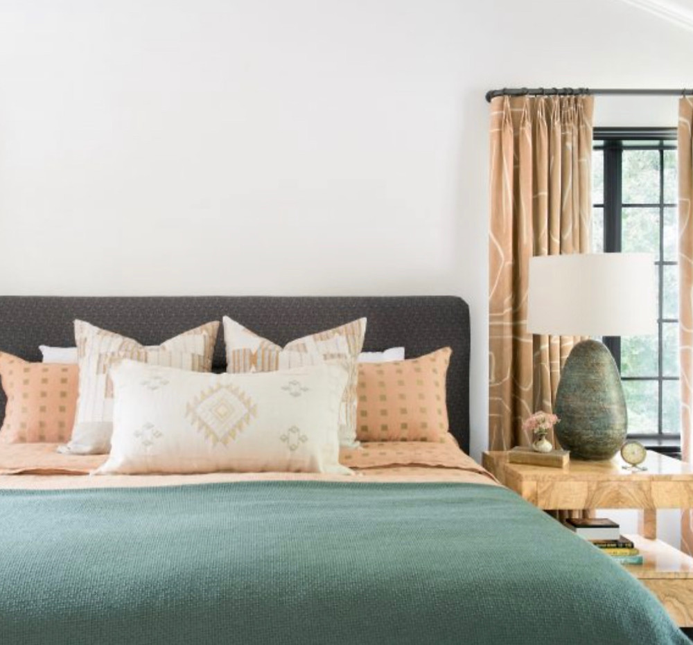Bohemian modern bedroom design desert modern cactus silk pillow moroccan textiles