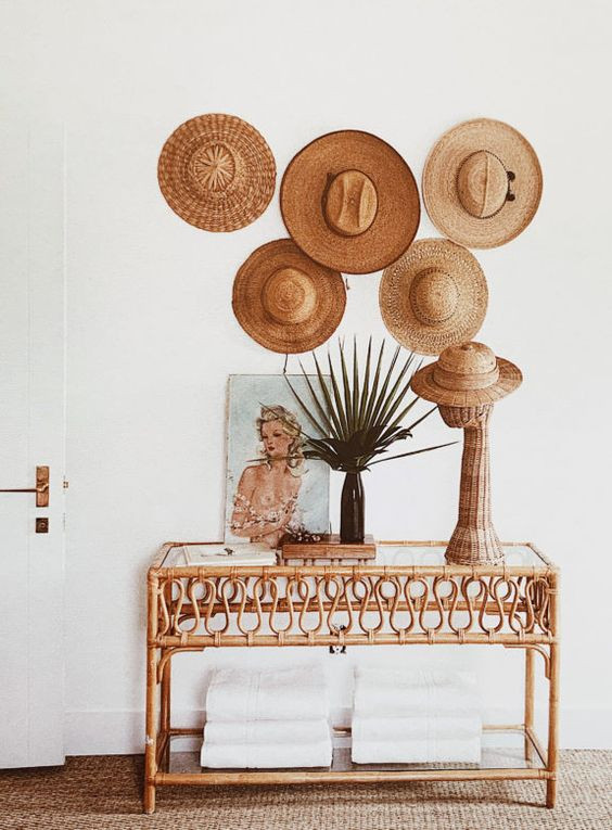 Vintage hats on wall styling tips bohemian interiors
