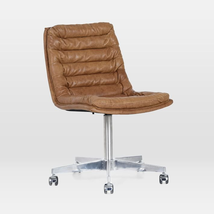 West Elm Leather Swivel Desk Chair