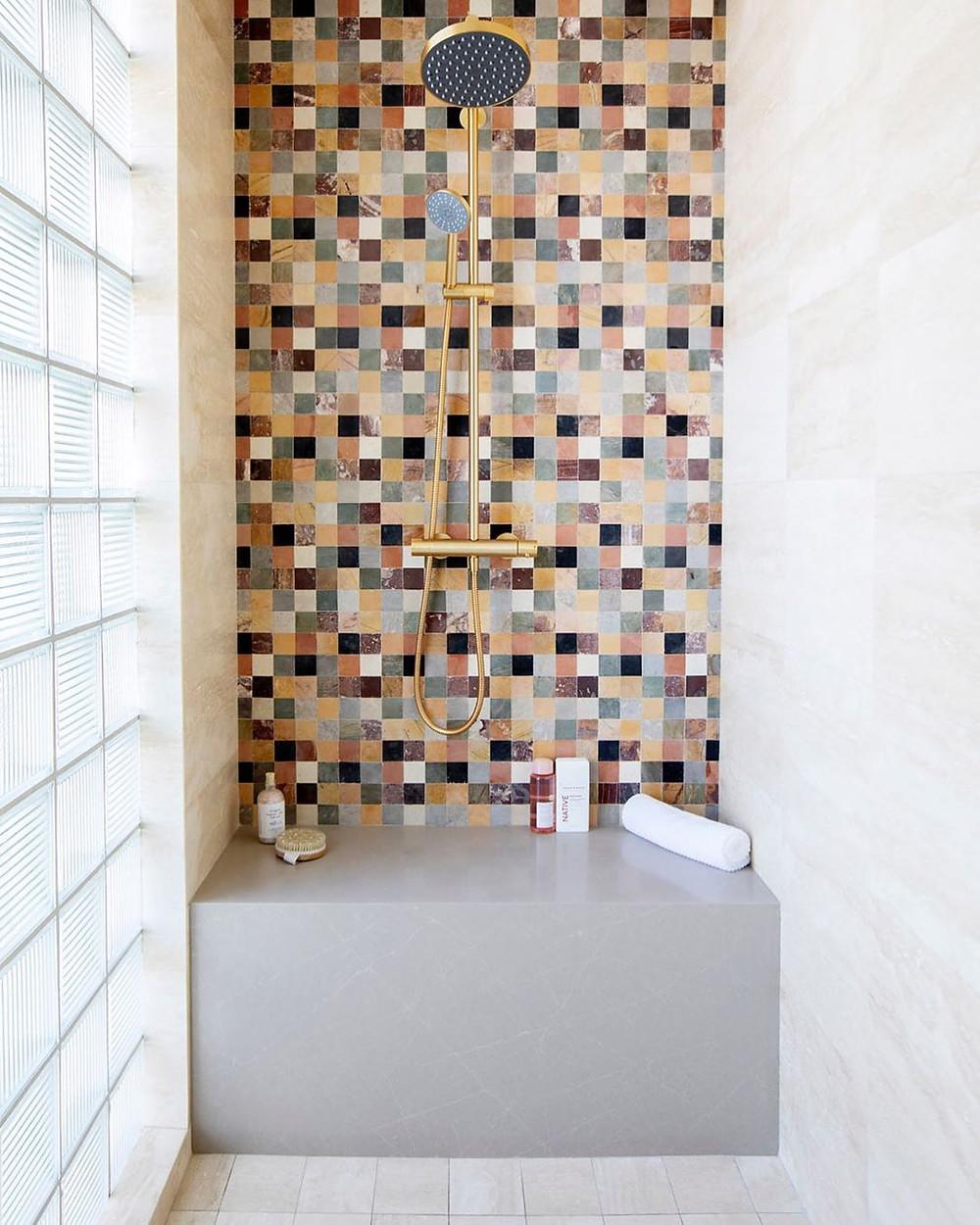 Checkerboard print, checkerboard tile shower, cement shower, brass hardware