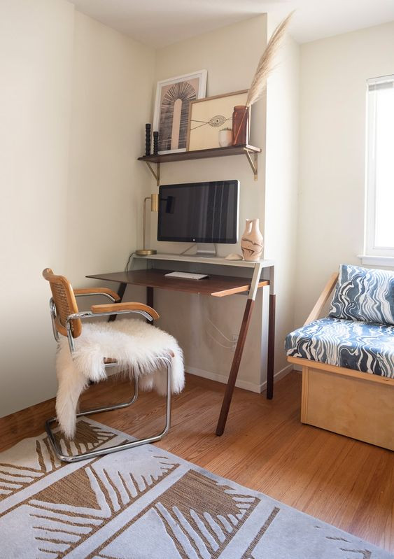 A bohemian home office design by Interior Designer Christina Higham of Sun Soul Style Interiors
