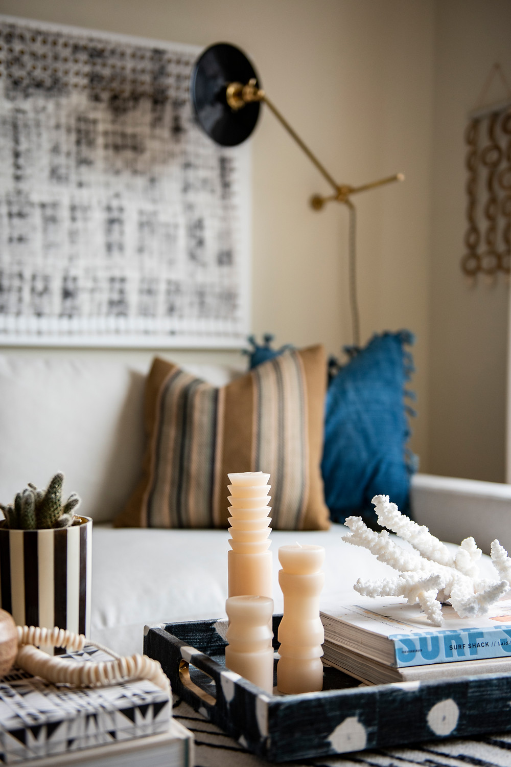 Bohemian living room design coffee table styling by Christina Higham Sun Soul Style Interiors