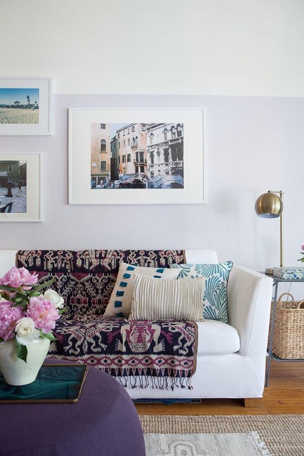 textile on sofa bohemian living room emily henderson