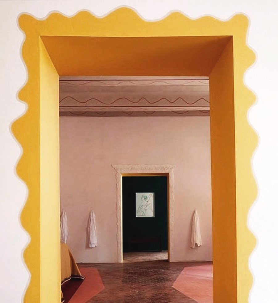 Pierre Yovanovic, squiggly frame, curvy furniture, wavy furniture, yellow door frame