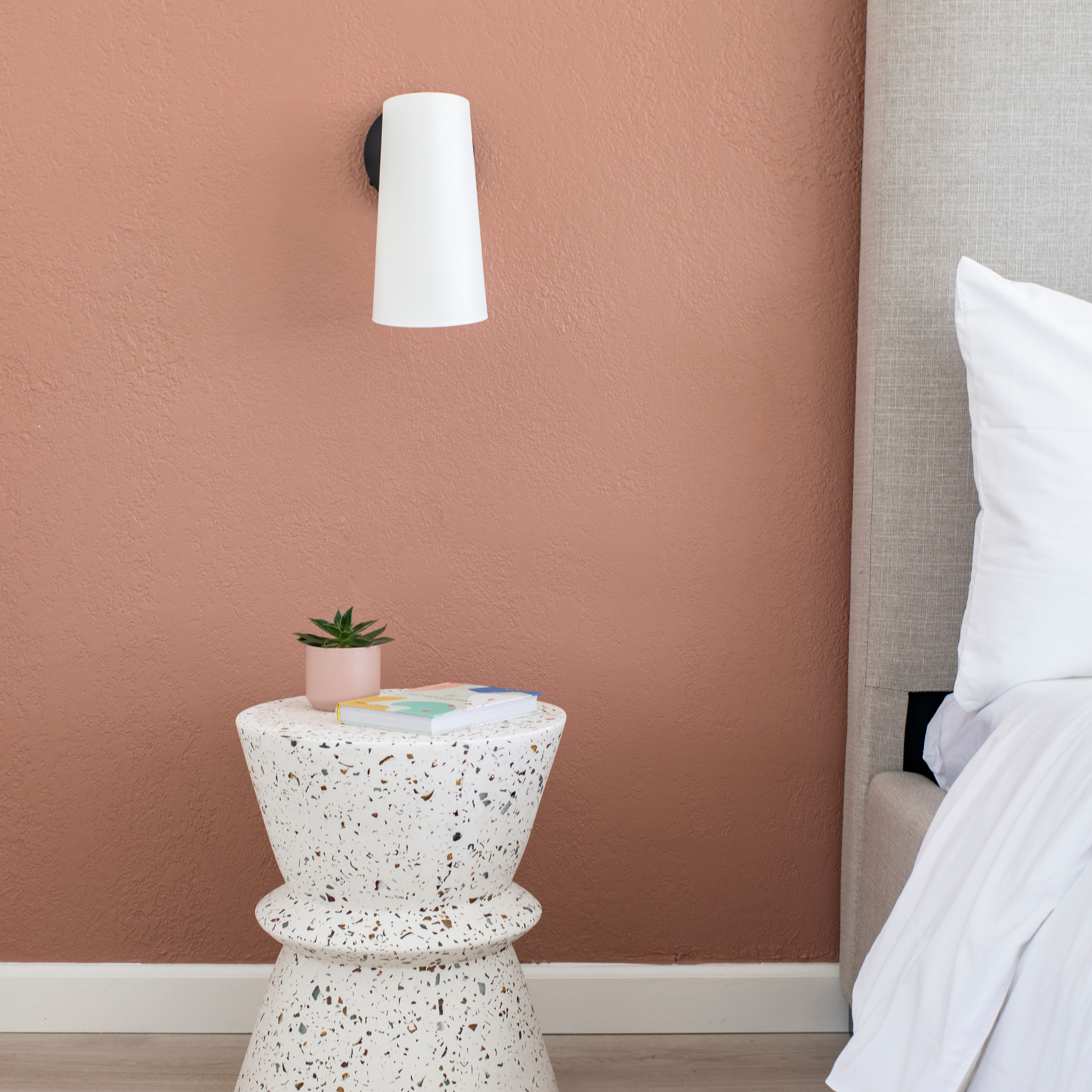 Mid Century motel room bright colored mid century bedroom terrazzo side table