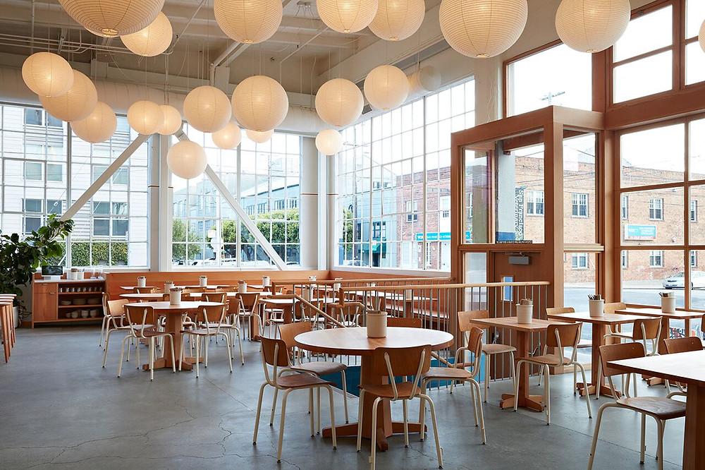 Tartine manufactory noguchi lighting installation restaurant design