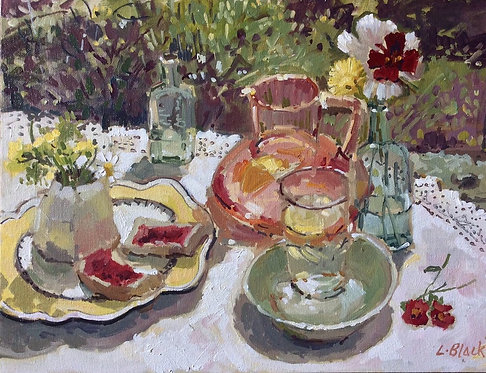 Jam on Bread and Cranberry Glass in the Garden- £640