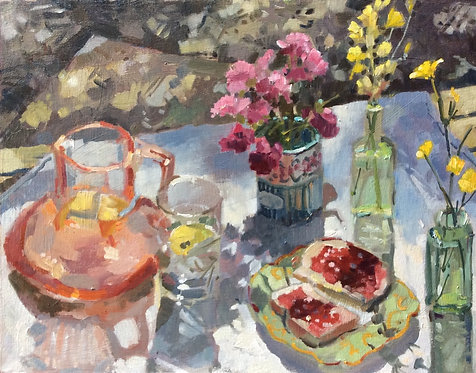 Cranberry Glass and Jam on Bread with Flowers- £860