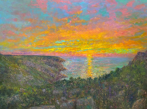 Sunset Towards Morvah, Church From Trevean Cliff- £10,500