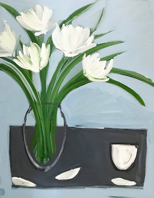 White Flowers and Bowl- £600