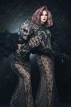 the villbergs in black lace costumes and helmet