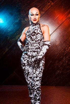 sasha velour from drag race wearing black & white sequins