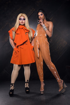 kim chi and naomi small from Rupaul's drag race in orange costumes