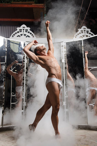 ballet dancer with smoke and mirrors