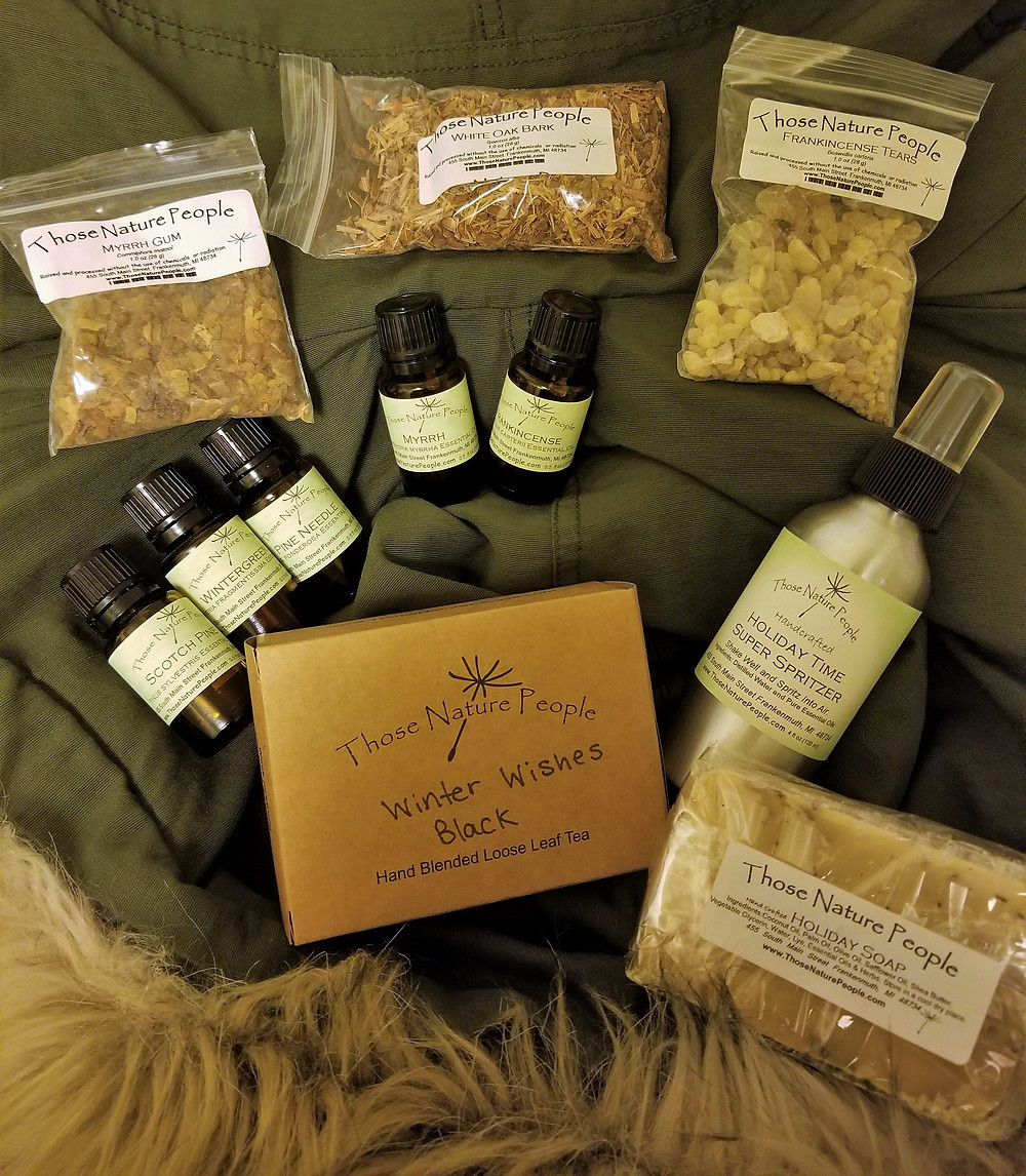 Winter Wishes Black Tea, Holiday Soap and Spritzer, and Frankincense, Myrrh, Oak Bark, Scotch Pine, Pine Needle, and Wintergreen Oils