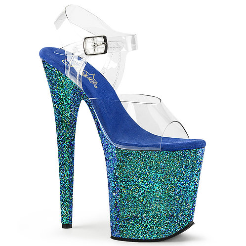 "[FLAMINGO 808] 8"" Blue Glitter Heels"