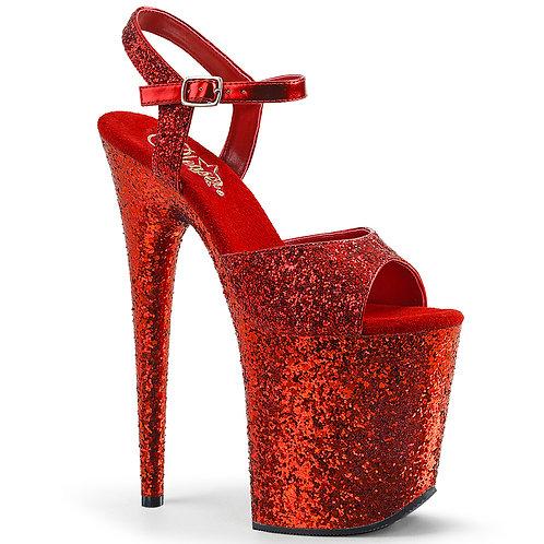 "[FLAMINGO 810] 8"" Red Glitter Heels"