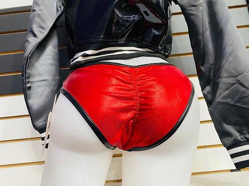 Cleo Red Metallic & Black Vinyl  Shorts