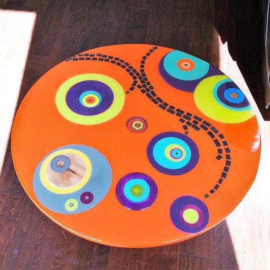 RECYCLED WOOD TABLE - ORANGE