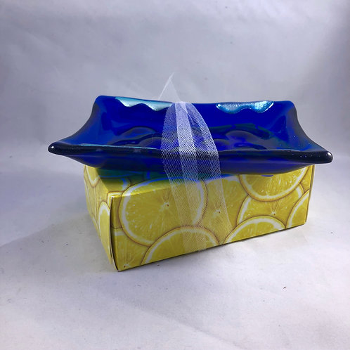Cobalt and Silver Soap Dish
