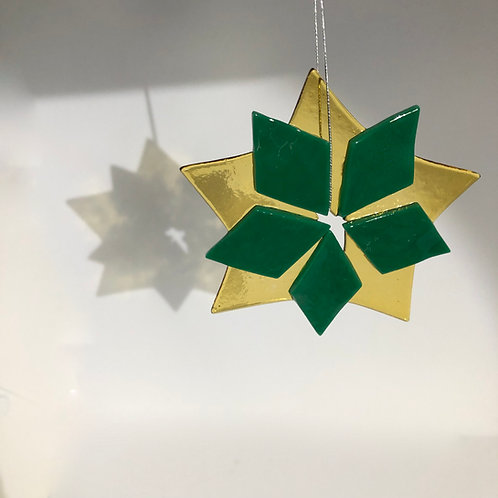 Green and Gold Star Ornament