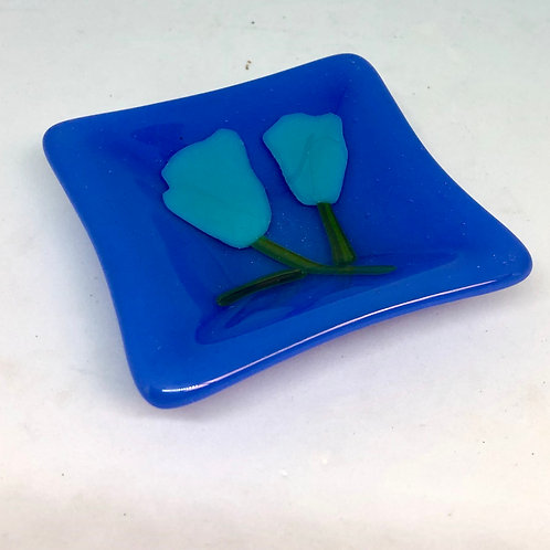 Blue Poppies Ring Plate