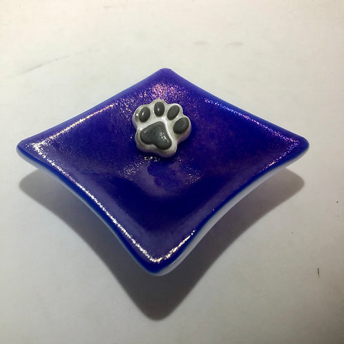 Paw Print Ring Dish Deep Blue