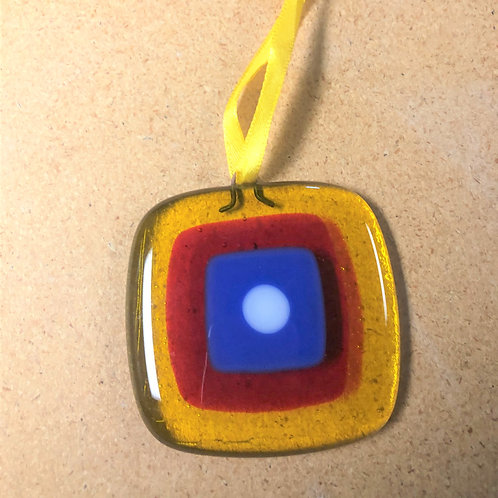 Mid-Century Modern Transparent Amber, Red, Blue and White Ornament