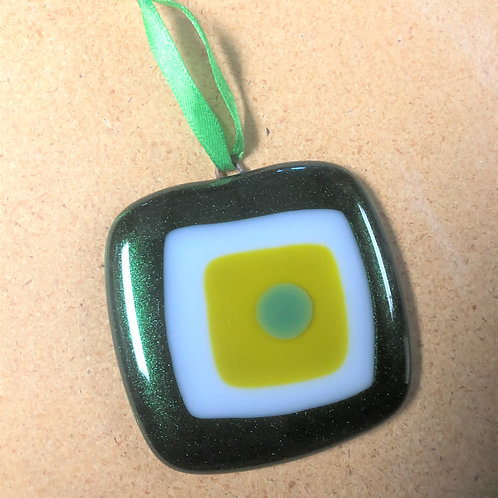 Mid-Century Modern Green, White and Yellow Ornament
