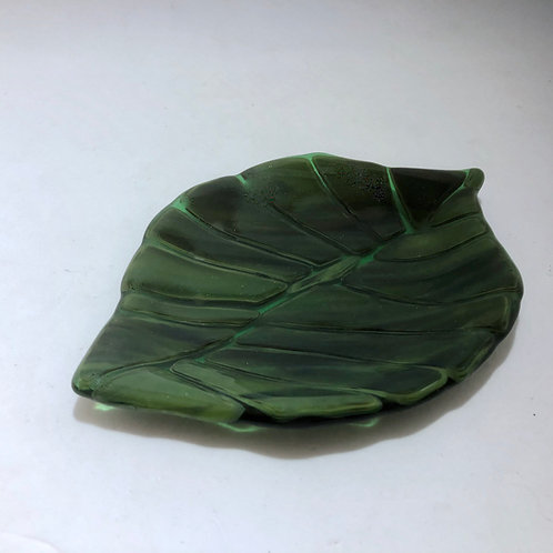 Small Deep Green Leaf Dish