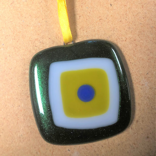 Mid-Century Modern Green, White, Yellow and Blue Ornament
