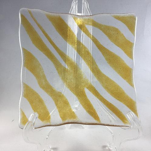 Wavy Golden Frit Stripes Plate