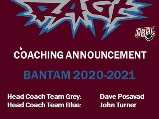 RAGE Bantam Coaching Announcement
