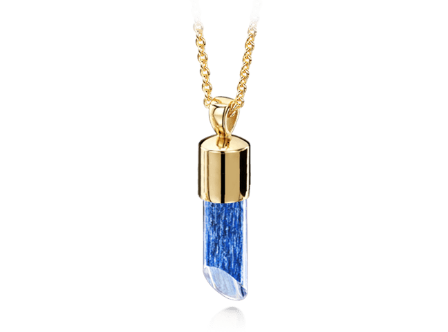 Long Pendant Gold Blue