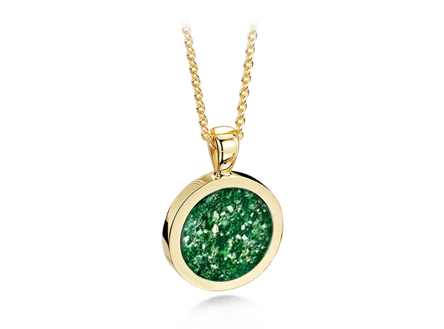 Round Pendant Gold Green