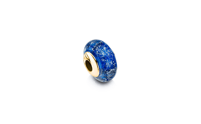 Charm Bead Gold Blue