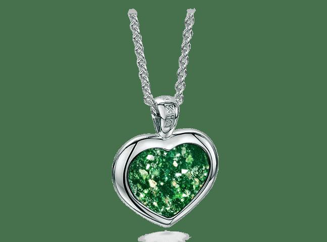 Heart Pendant White Gold Green