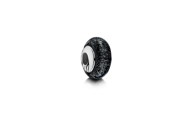 Charm Bead Silver Black
