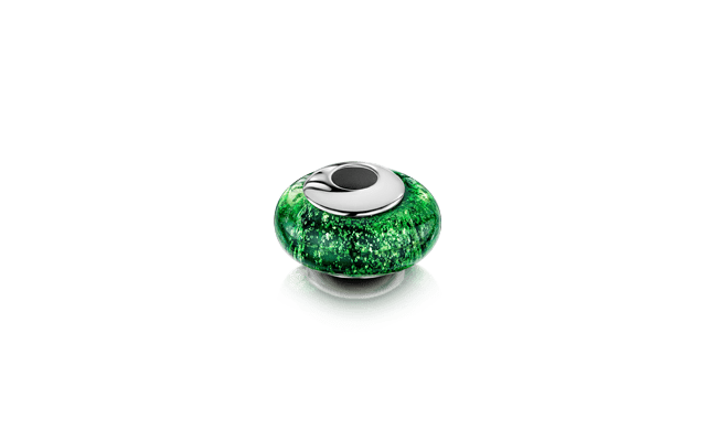Charm Bead Silver Green