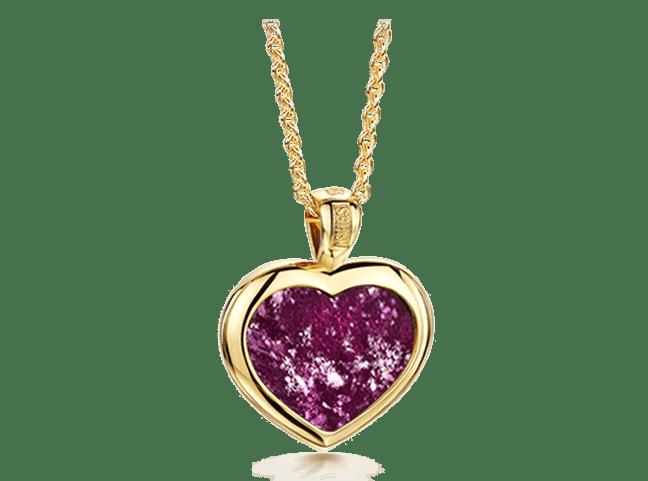 Heart Pendant Gold Purple
