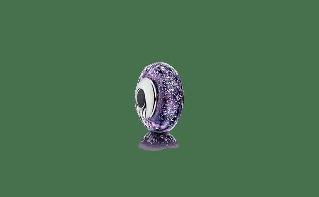 Charm Bead Silver Purple