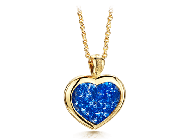 Heart Pendant Gold Blue