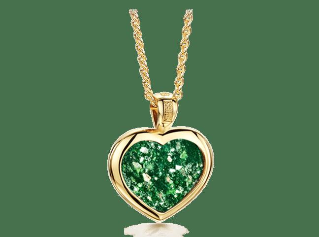 Heart Pendant Gold Green