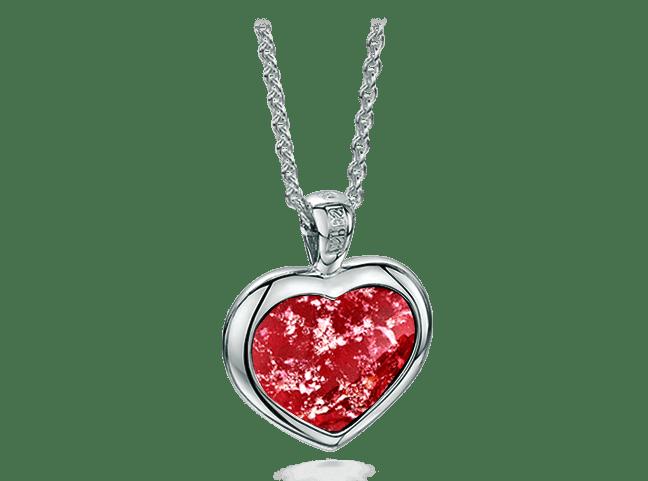 Heart Pendant White Gold Ruby