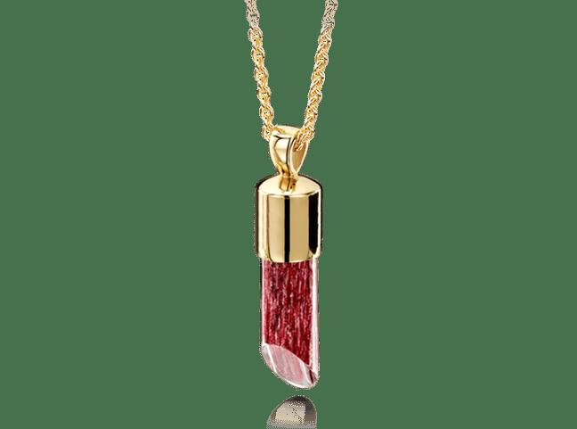 Long Pendant Gold Ruby