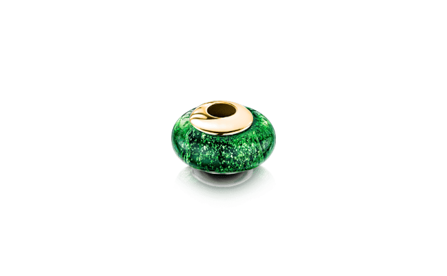 Charm Bead Gold Green