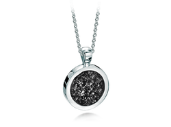 Round Pendant White Gold Black